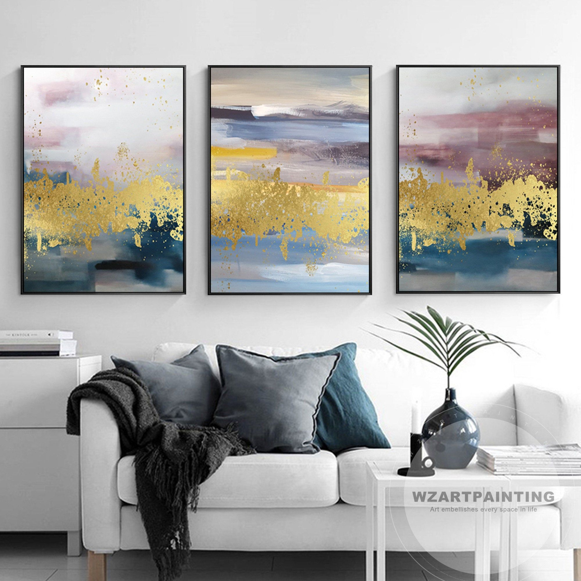 Set Of 3 Prints Framed Wall Art Modern Abstract Mountain Lake Gold