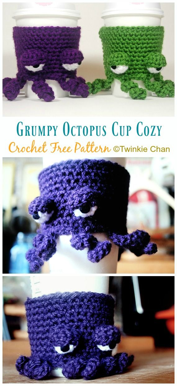 Grumpy Octopus Coffee Cup Cozy Crochet Free Pattern - Crochet & Knitting