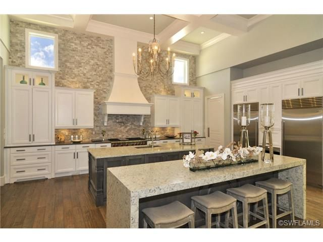 Transitional Double Island Kitchen Stacked Stone Wall Stacked Stone ...
