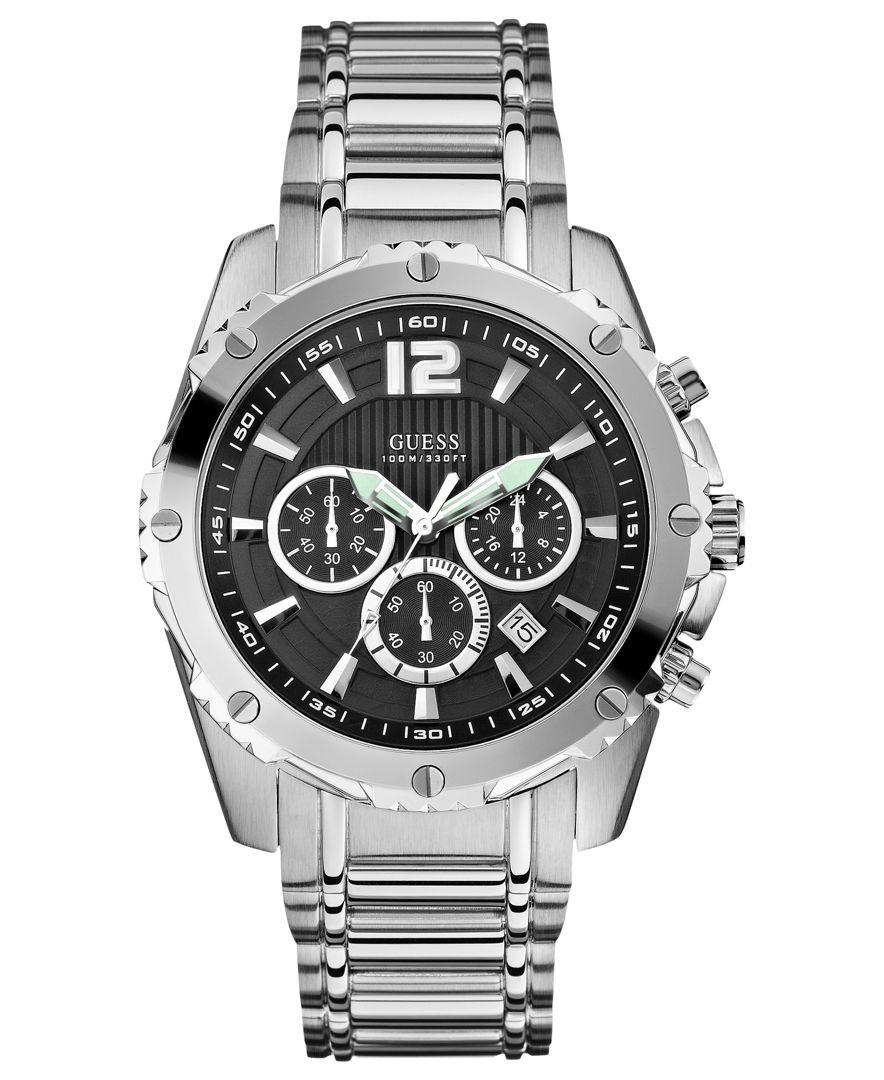 Guess Watch, Men's Chronograph Stainless Steel Bracelet 47mm U0165G1
