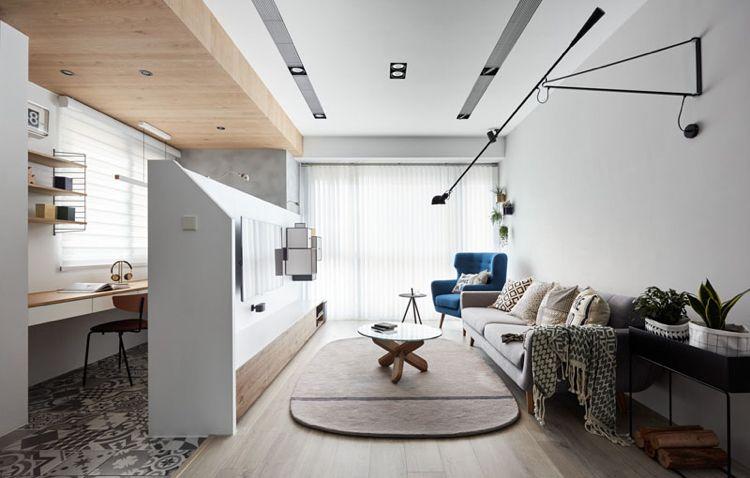 home office einrichten wenig platz wohnzimmer tv-wand arbeitsplatz