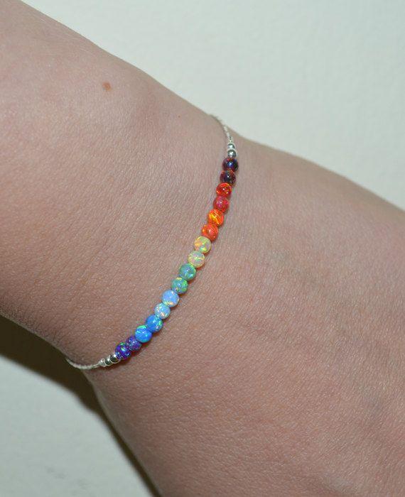 Photo of Opal Bracelet, Opal Jewelry, Opal Ball / Bead Bracelet, Opal Silver Bracelet, Simple / Elegant Tiny Dot Horizontal Bar Bracelet