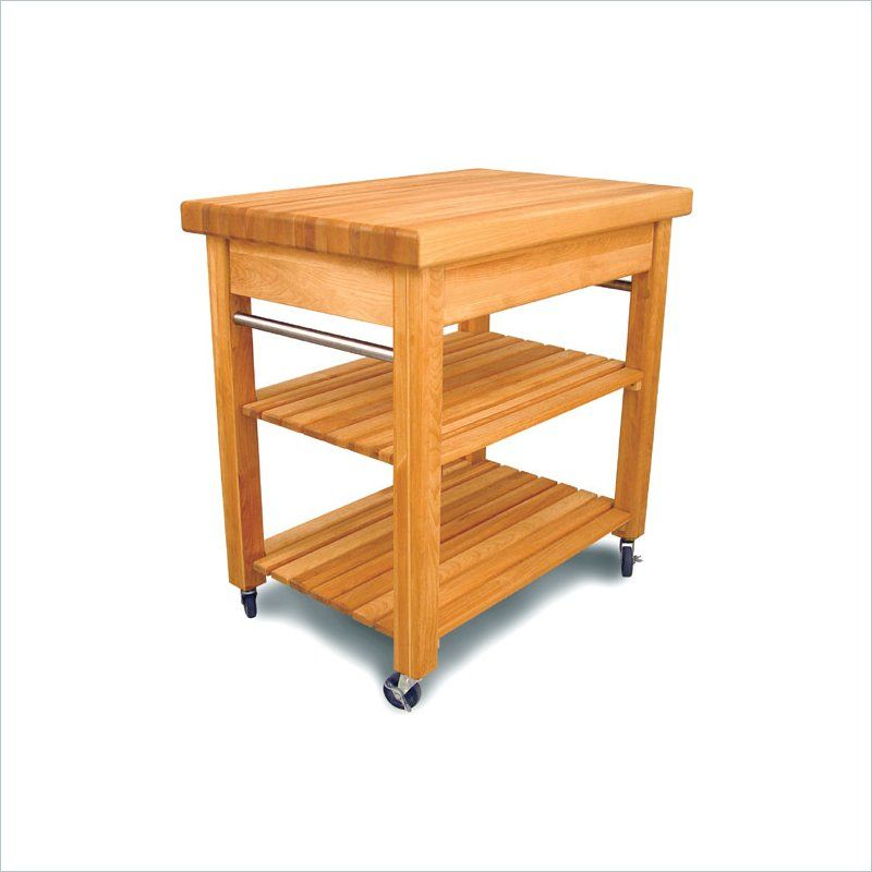 Catskill French Country Small Butcher Block Kitchen Cart In Natural
