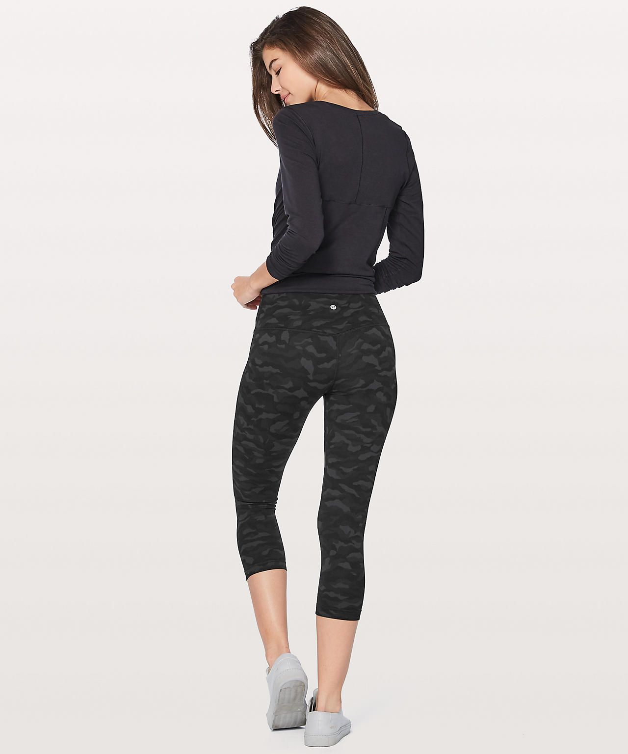 Lululemon Align Crop In Sequoia Camo Deep Coal And Black Fashion Pants Capri Pants