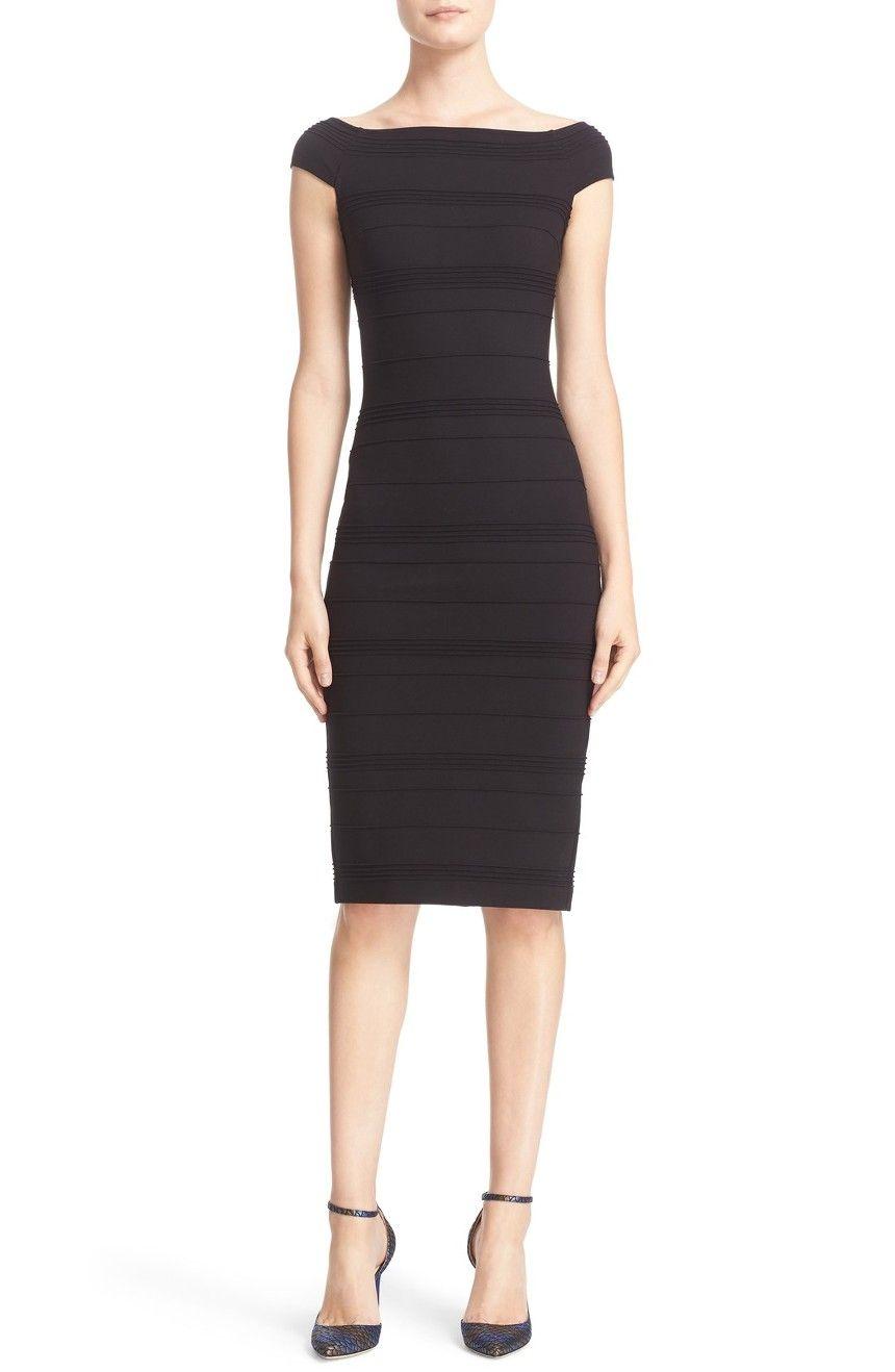 1e81f11f19dc46 Main Image - Ted Baker London  Inan - Bardot  Stripe Texture Body-Con Dress