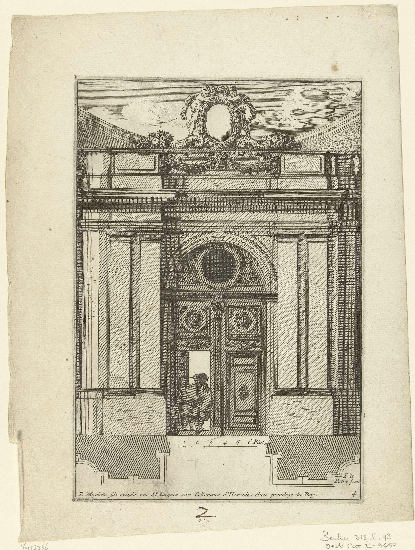 Jean Lepautre | Portiek met dubbele Toscaanse pilasters, Jean Lepautre, c. 1656 - c. 1657 | Bekroond met attiek met medaillon geflankeerd door putti en hoorns des overvloeds. Opstand met plan en schaal in Franse voet.
