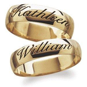 Gold Wedding Rings With Names Engraved Google Search