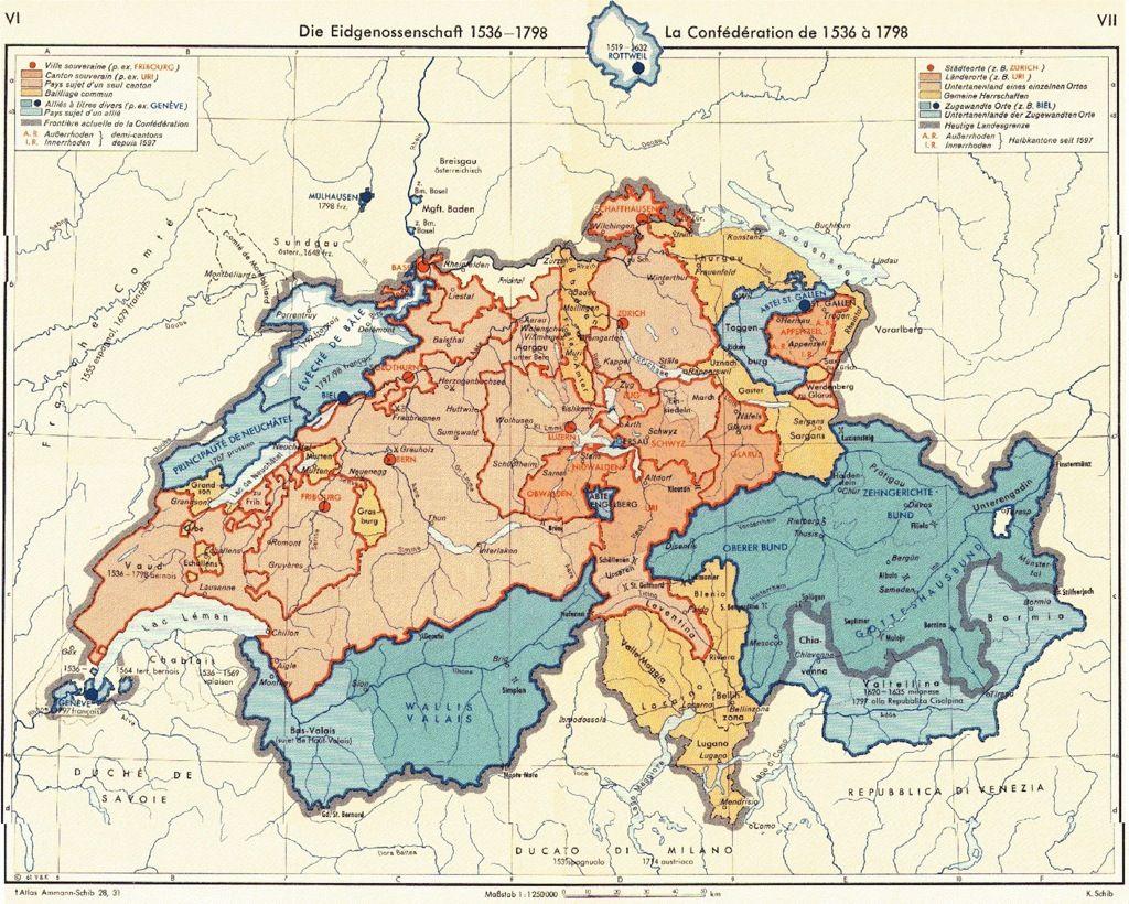 Die Schweiz um 1798 | Maps | Map of switzerland, Map und ...