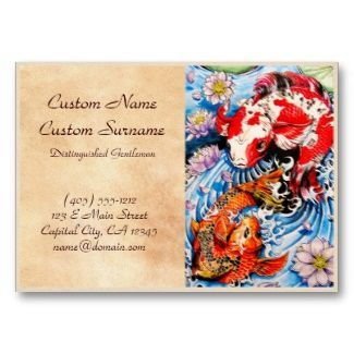 Cool Oriental Japanese Koi Fish Lotus Water Tattoo Business Card - Tattoo business card templates