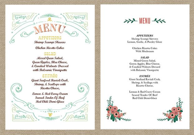 Wedding Reception Menu  Reception    Menu Wedding