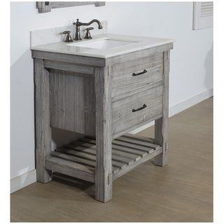 30 Rustic Solid Fir Single Sink Vanity In Grey Driftwood Finish