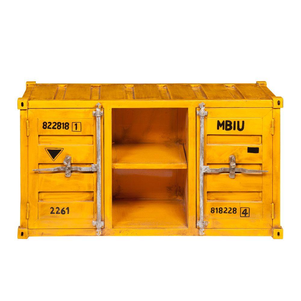 Meuble Tv Container En M Tal Jaune L 129 Cm Meuble Tv Tv Et  # Meuble Jaune