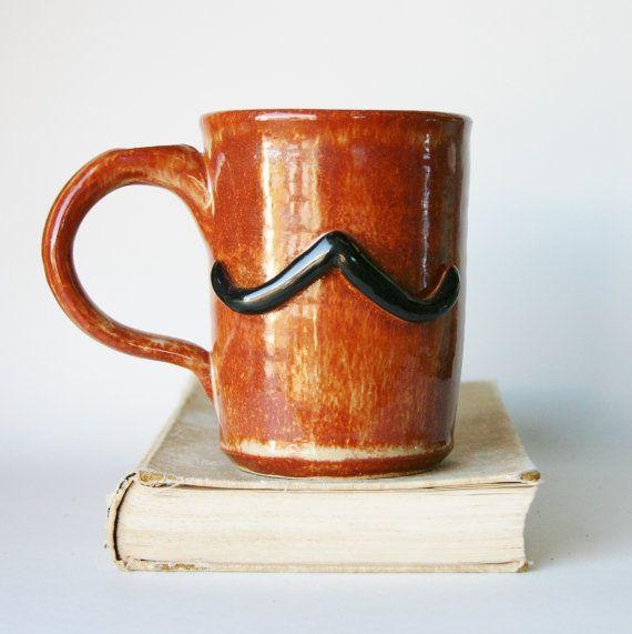 Large Mustache Pottery Mug  XL Man Mug Beer by BackBayPottery, $30.00