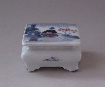 Chinese Hand painted Blue & White Porcelain people Snuff Bottle