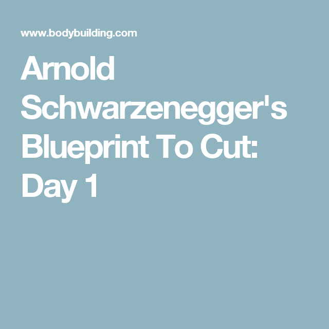 Arnold schwarzeneggers blueprint to cut day 1 pinterest goal arnold schwarzeneggers blueprint to cut day 1 malvernweather Gallery