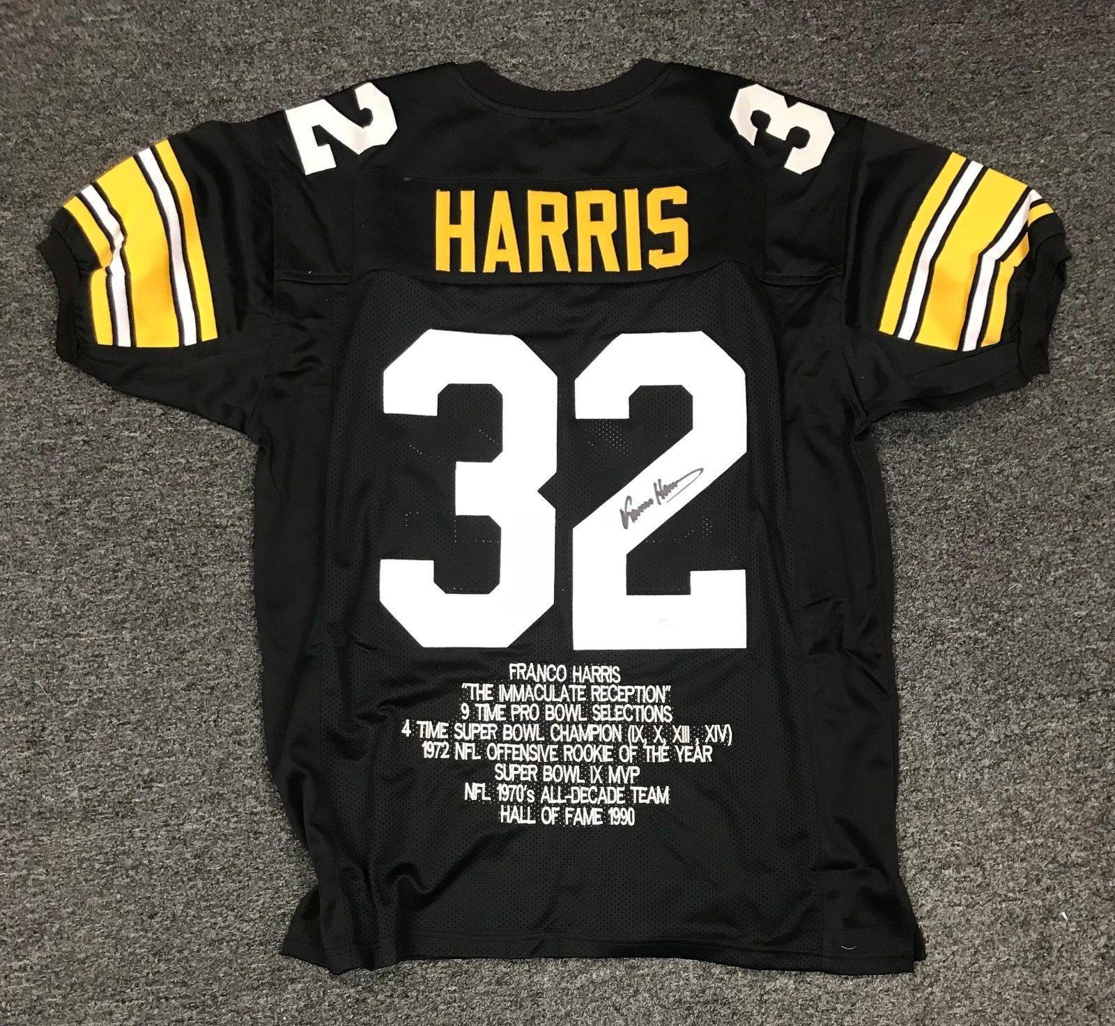 fb847493e1e Franco Harris  32 Signed Steelers Stat Jersey Autograph Sz XL JSA Sticker  ONLY  Football