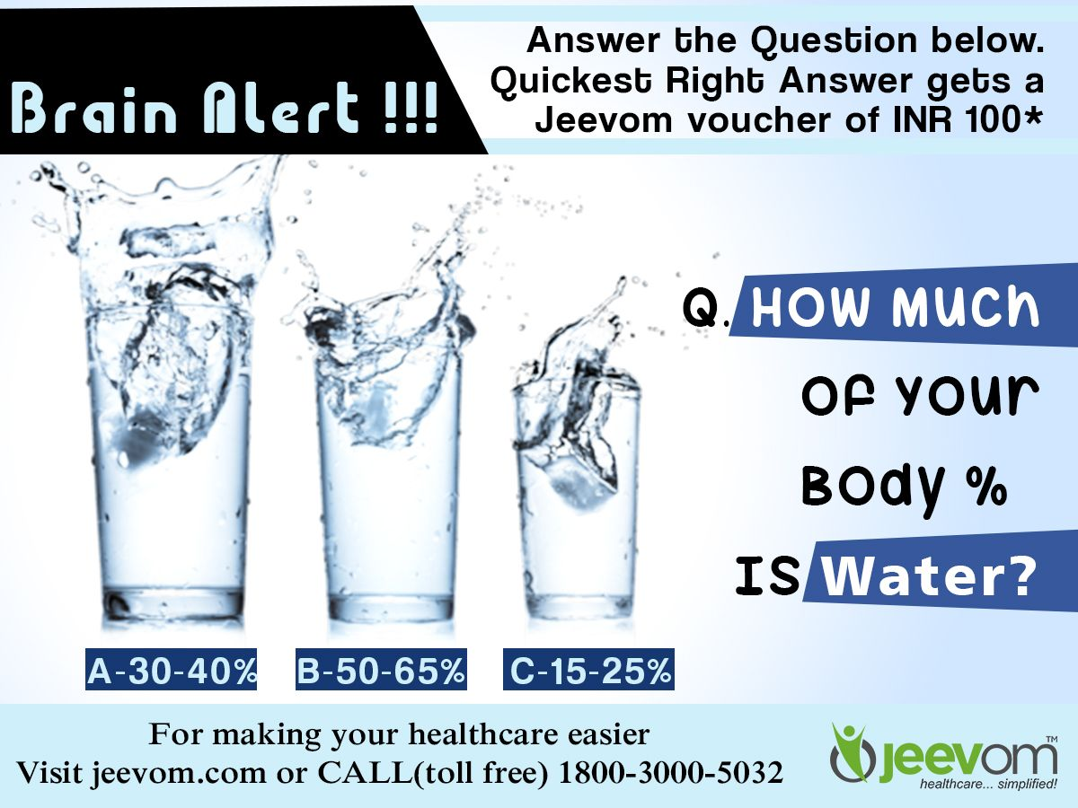 #JeevomBrainAlert: Answer the Question below. Quickest right answer gets a Jeevom voucher of INR 100*  Question: How Much of Your Body % Is Water?  Answer Options: A) 30-40% B) 50-65% C) 15-25%  #HealthQuiz