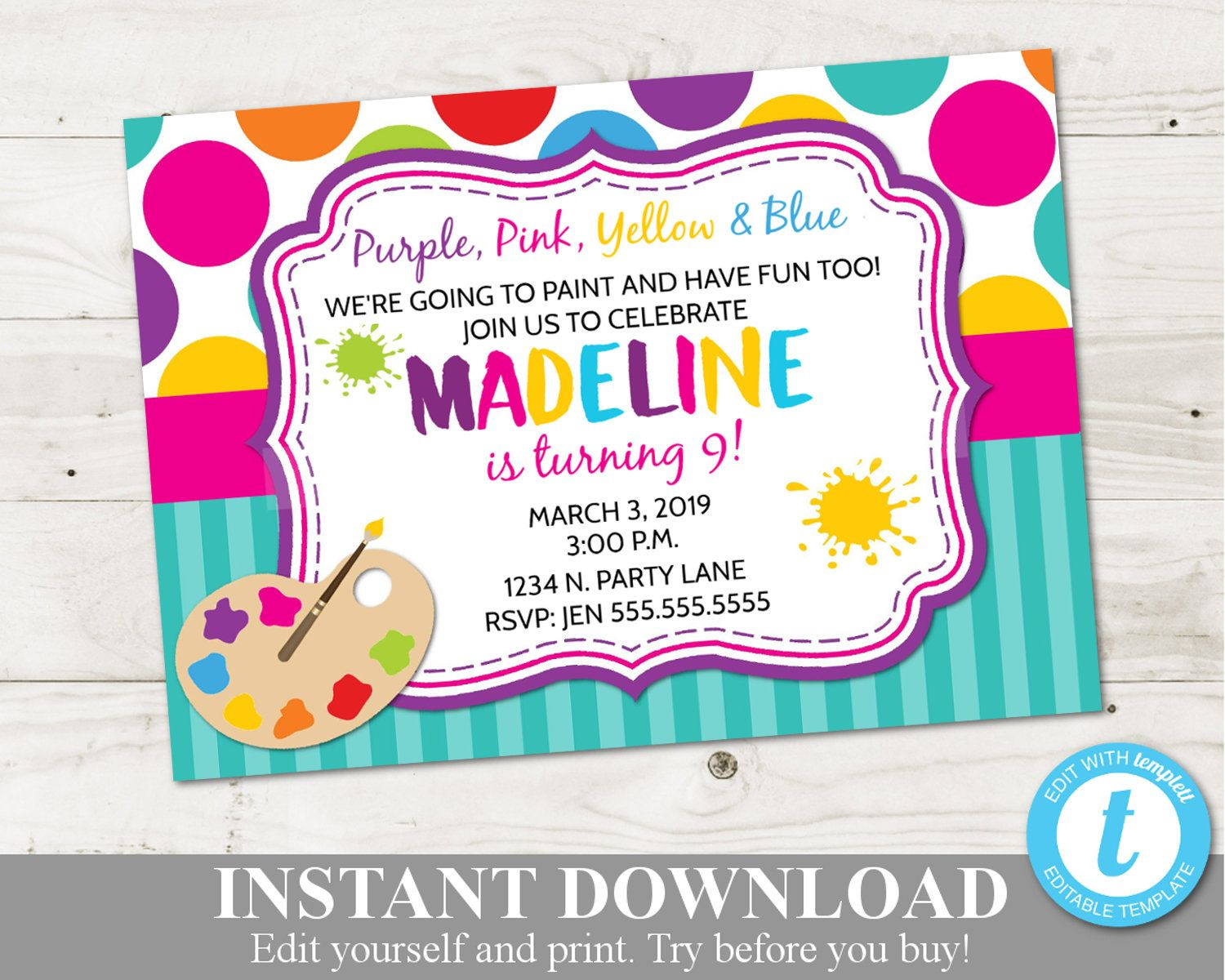 Instant Download Art Party 5x7 Birthday Party Printable Invitation