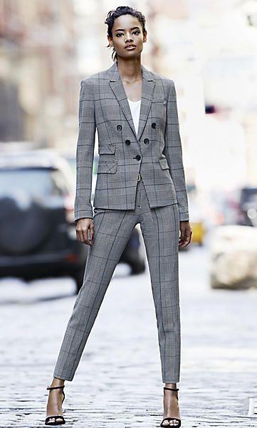 Plaid Womens Pant Suit