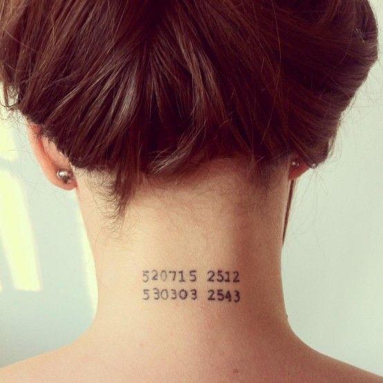 geburtsdatum nacken tatoo tatoo pinterest f r ldrar. Black Bedroom Furniture Sets. Home Design Ideas