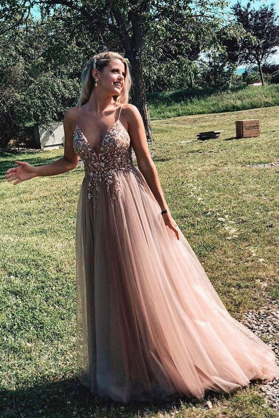 Backless Tulle Beaded Prom Dresses Party Dresses with Spaghetti Straps LPD012