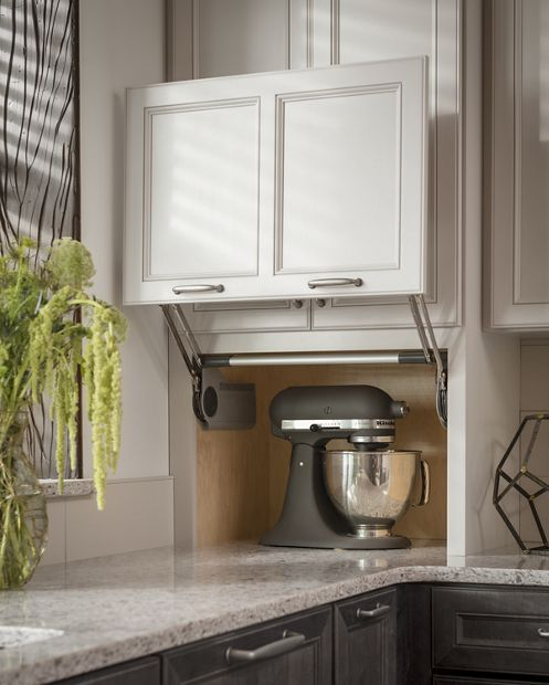 Counter Wall with Vertical Lift Door Appliance Garage