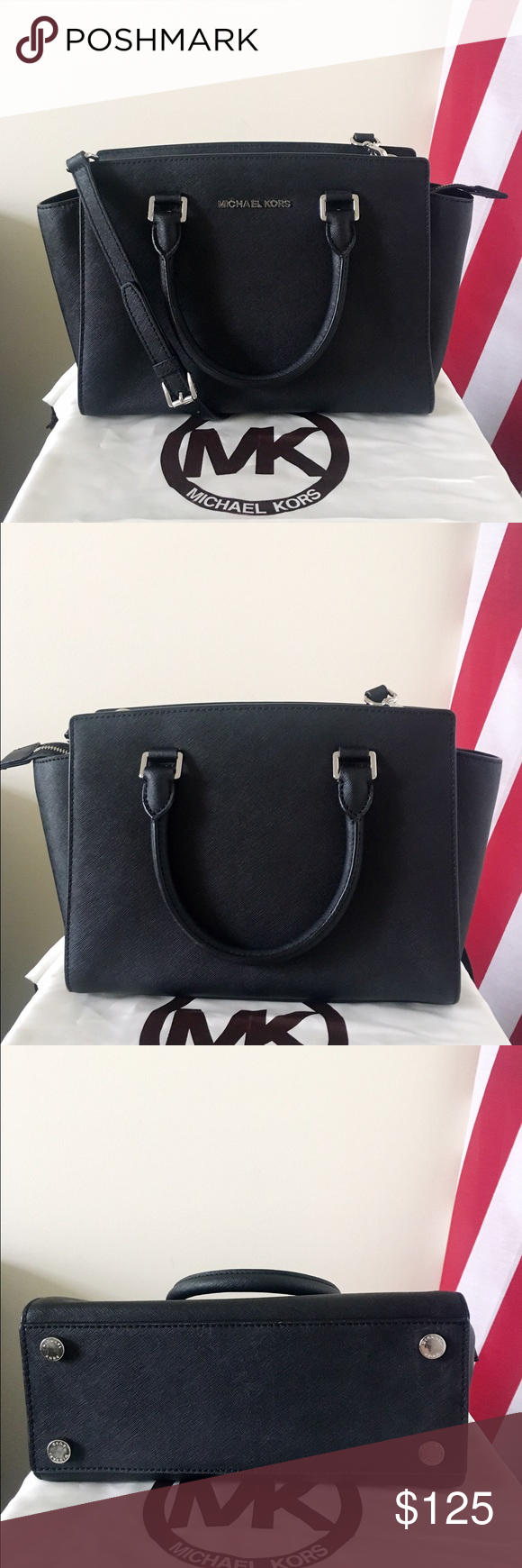Michael kors Black Selma Satchel/ Crossbody Medium A great purse, goes well very everything. Black Saffiano leather and silver tone hardware. Lightly used. Authentic. Shows minor wear on the bottom feet, other than that, in really good condition. Measurement: 12*8*5 inch. Dust bag is included. Michael Kors Bags Satchels