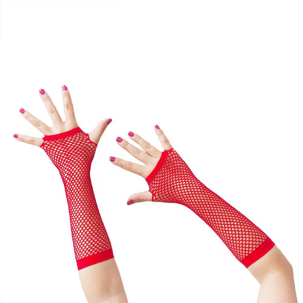 Netzhandschuhe lang fingerlos Party Karneval Fasching - rot in Feierlichkeiten / Anlässe   • Karneval Fasching Party • Handschuhe