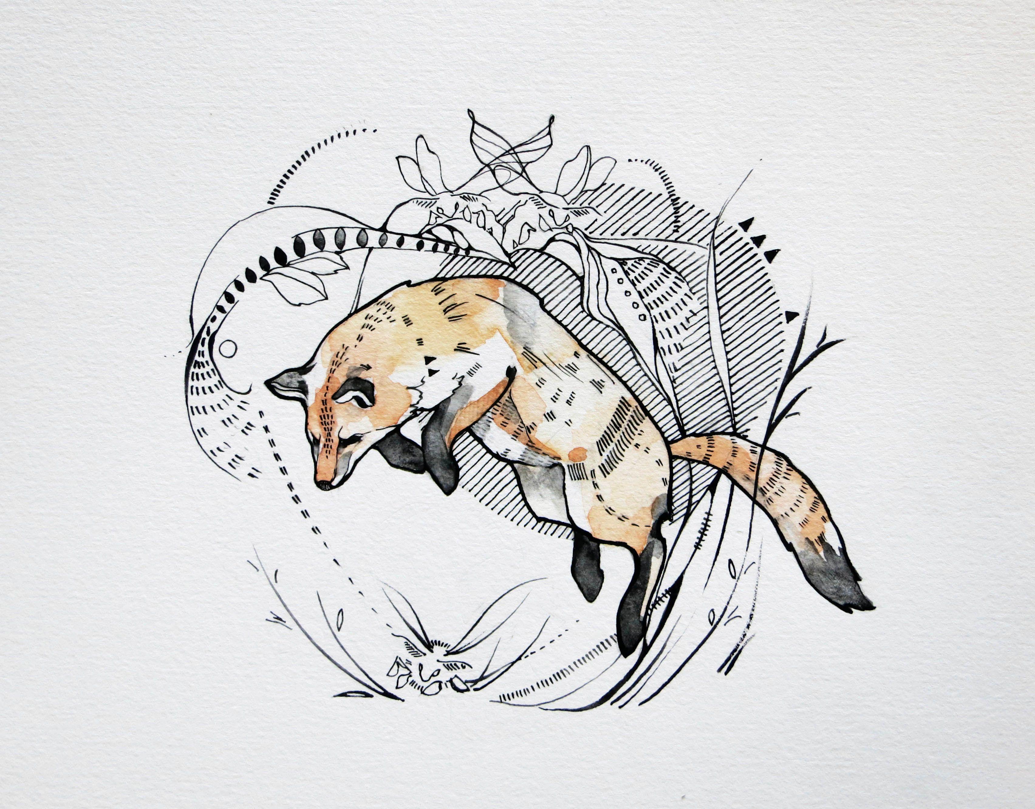 Картинка волка и лисы линиями