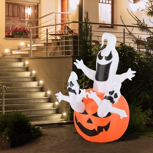 6 ft tall lighted halloween inflatable pumpkin ghost