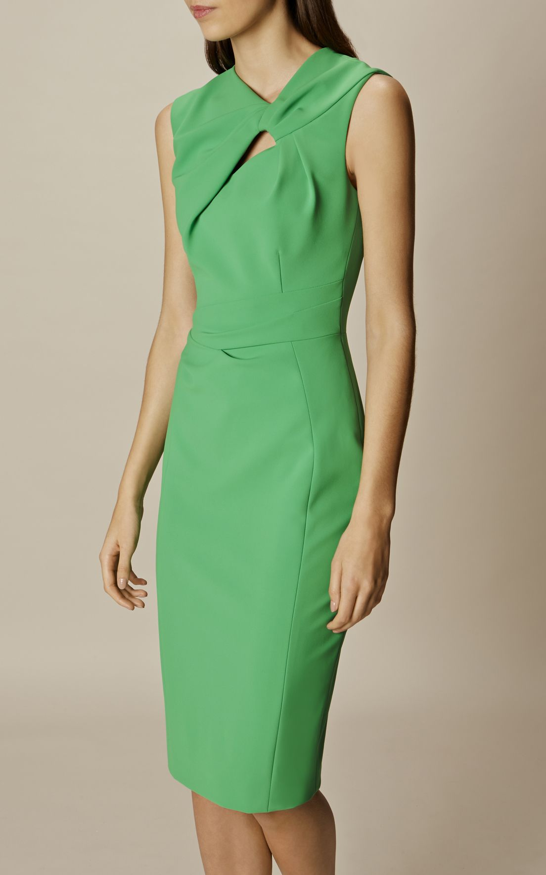 5e88feecd463d4 Karen Millen, KNOT DETAIL PENCIL DRESS Green | fashion | Pencil ...