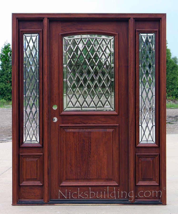 Mahogany 2 Panel Door With Chateau Glass Mahogany Entry Doors Leaded Glass Door Doors