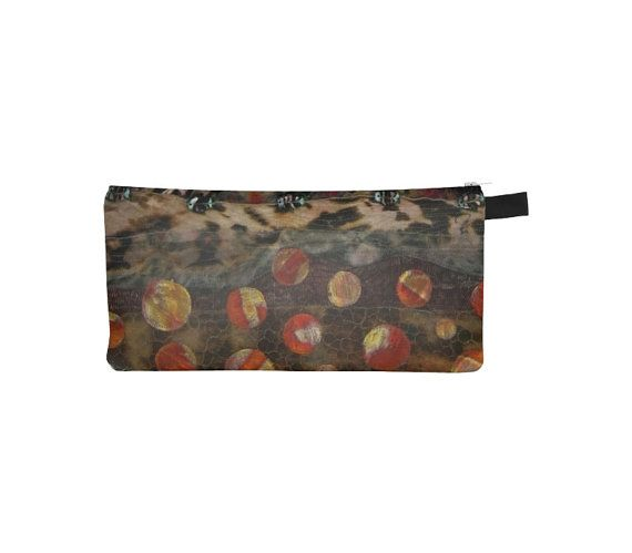 #Brown #Printed #Pouch #Pencil #Case by WhimZingers $12