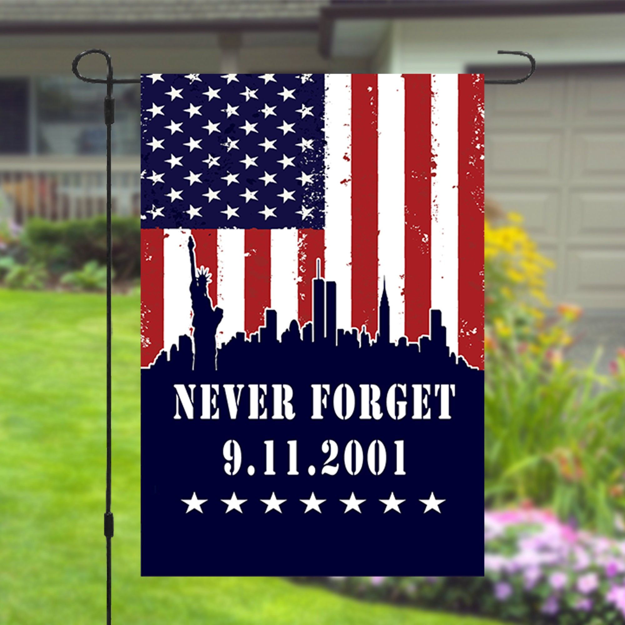 9 11 September 11 Patriots Day Never Forget Garden Banner Flag Etsy In 2020 Patriots Day House Flags Wall Banner