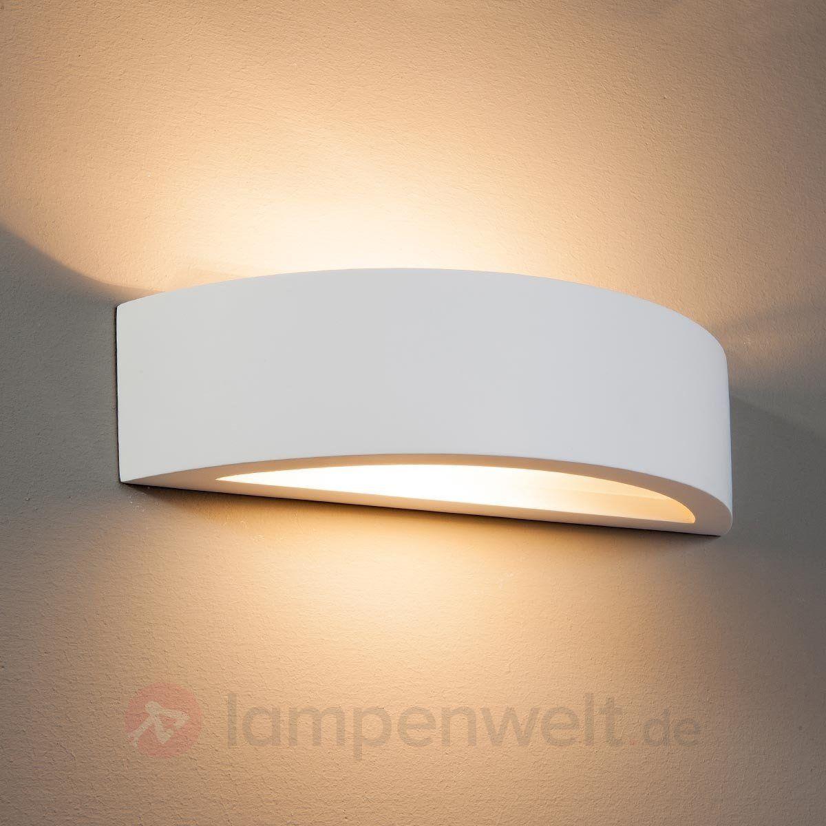 Gebogene Wandleuchte Konstantin Aus Weissem Gips 9613008 Wall Lights Wall Lamp Wall Lights Bedroom