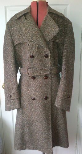 Austin Reed Ladies Manx Tweed Coat Size 14 Rare Trench Coat Style Wool Coat