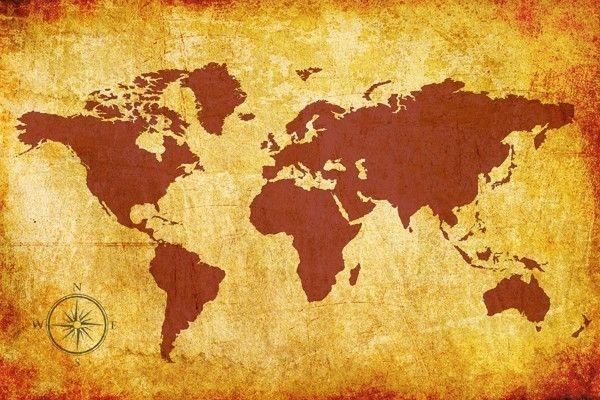 Tableau Tendance   Carte du Monde en Couleur Brune sur Fond Clair