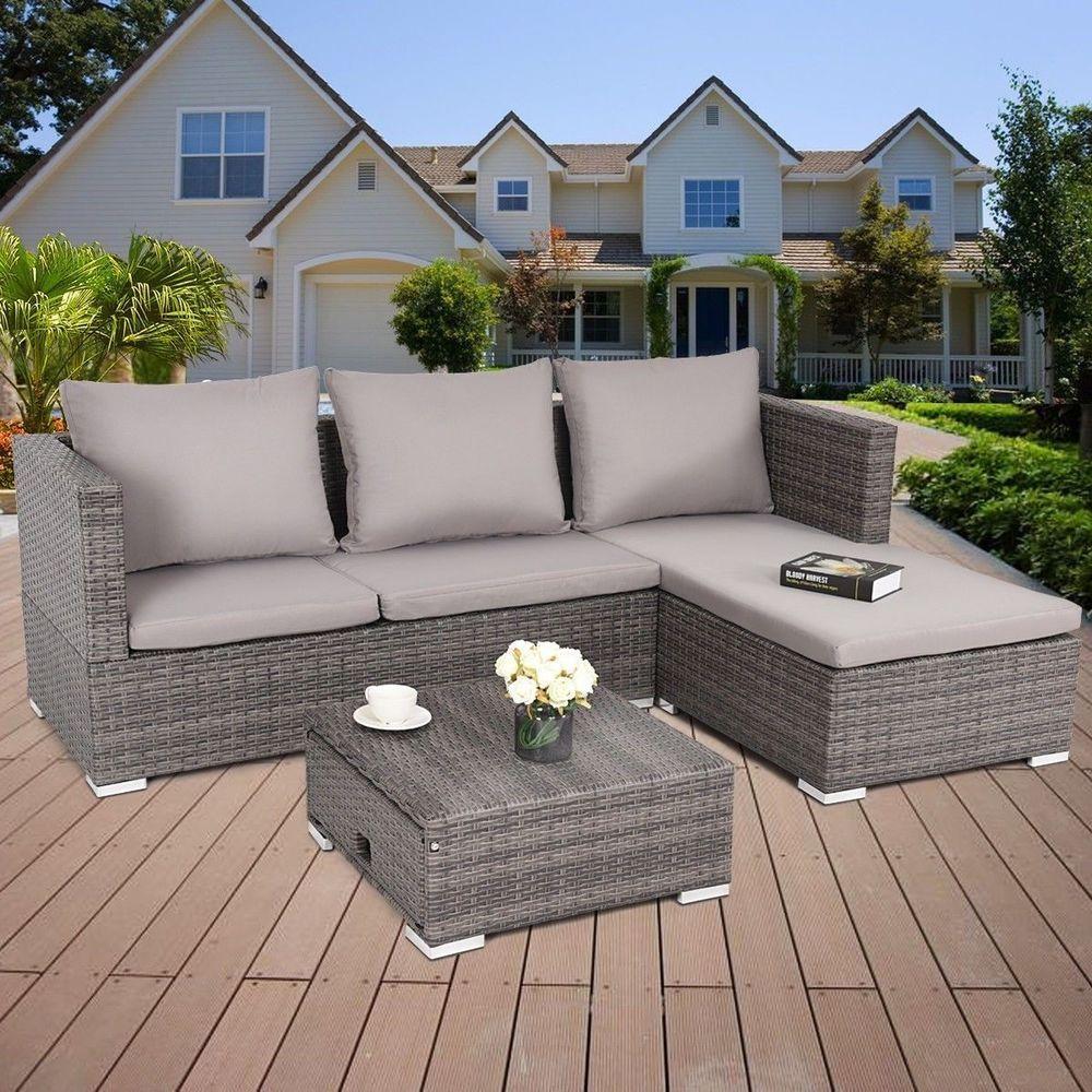 Patio Corner Sofa Furniture Set 3 Pcs Steel Frame Adjustable Seat Rattan Wicker Patiocornersofa
