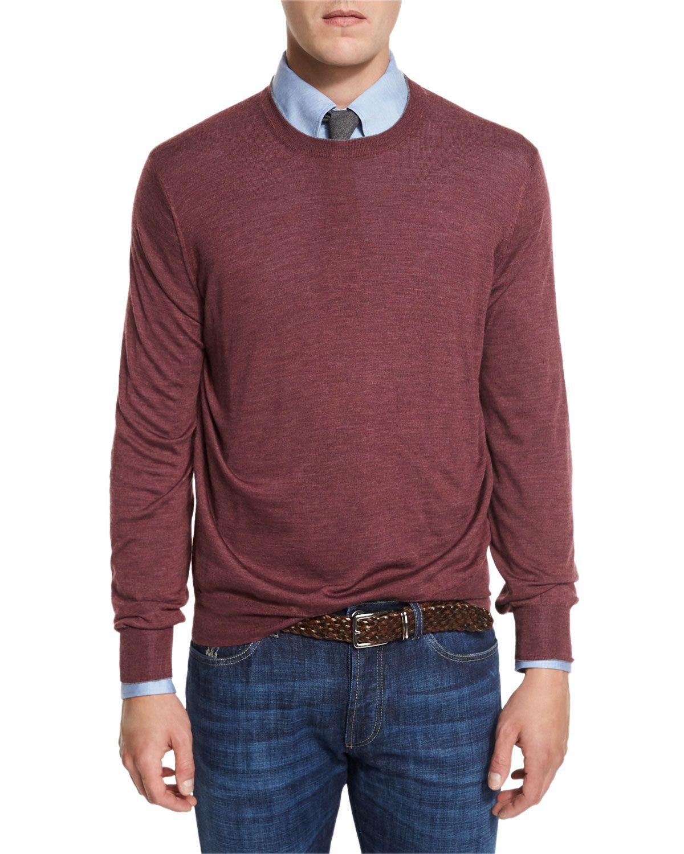 Fine-Gauge Knit Elbow-Patch Sweater, Burgundy (Red) - Brunello Cucinelli