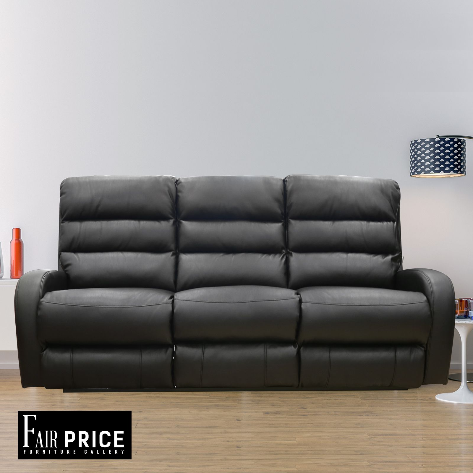 New Luxury 3 Seater Leather Air Justin Recliner Sofa Couch Lounge Suite,  Black