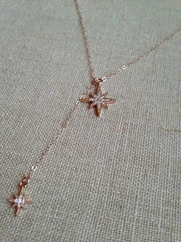 Rose Gold Starburst with a Tiny Rose Gold Starburst Tail on a 14 inch Rose Gold Chain