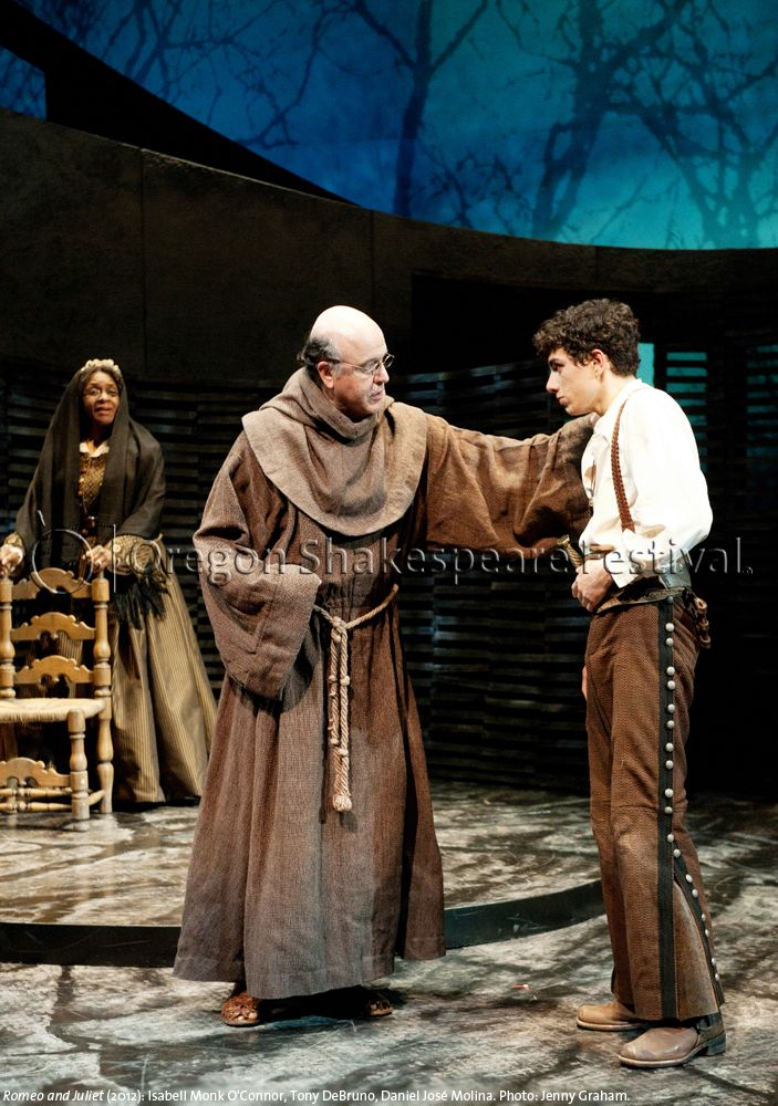 Oregon Shakespeare Festival. ROMEO AND JULIET (2012): Isabell Monk O'Connor, Tony DeBruno, Daniel José Molina. Photo: Jenny Graham.