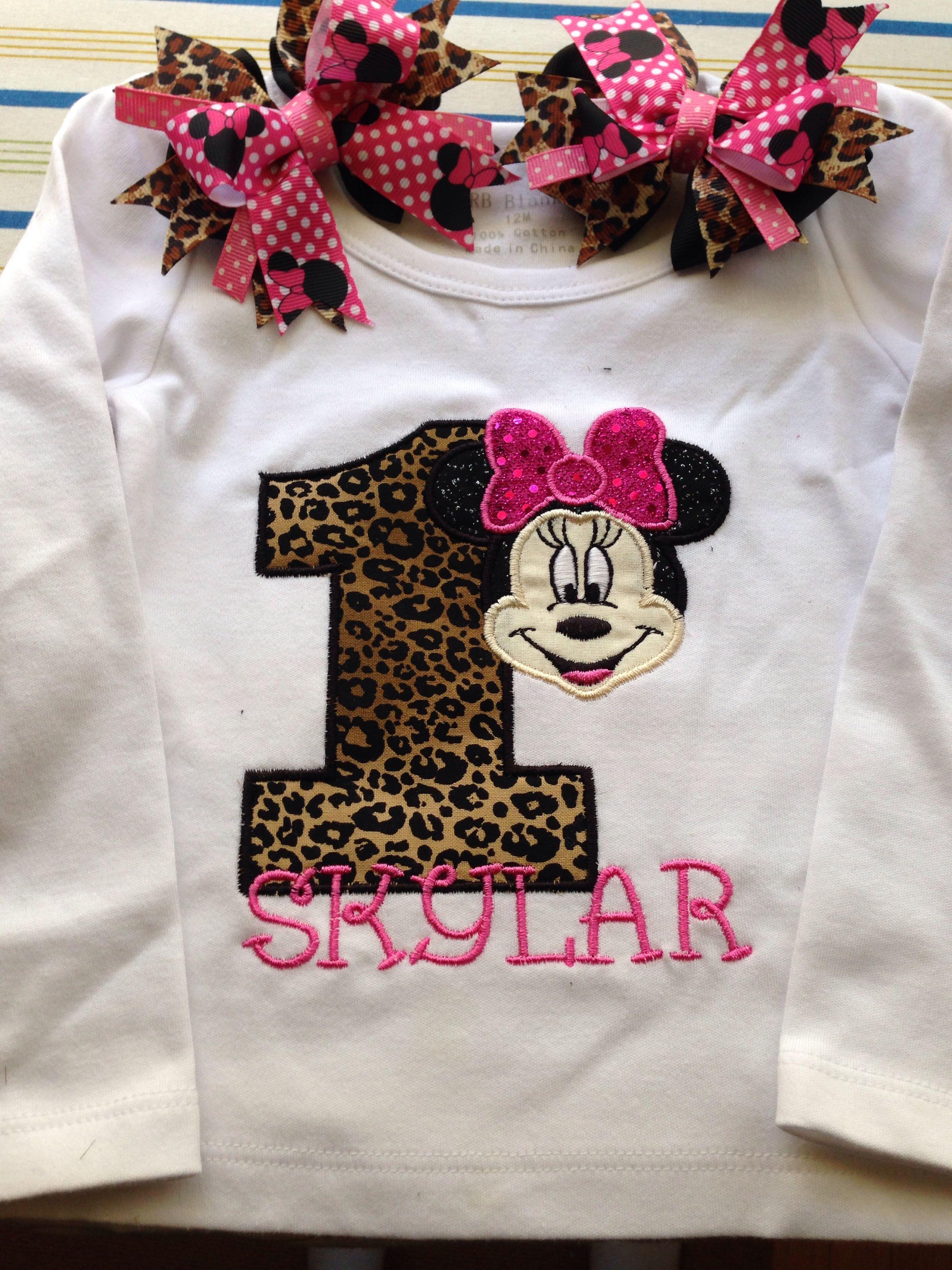 Minnie Mouse Custom Shirt For Skylar 1st Birthday Party Custom Shirts 1st Birthday Minnie Mouse