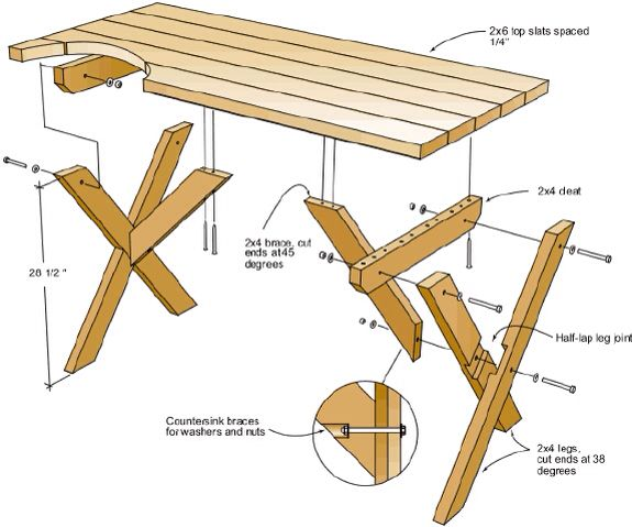 Simple Picnic Table Plans Drawings And Material List Pinterest - Simple picnic table plans