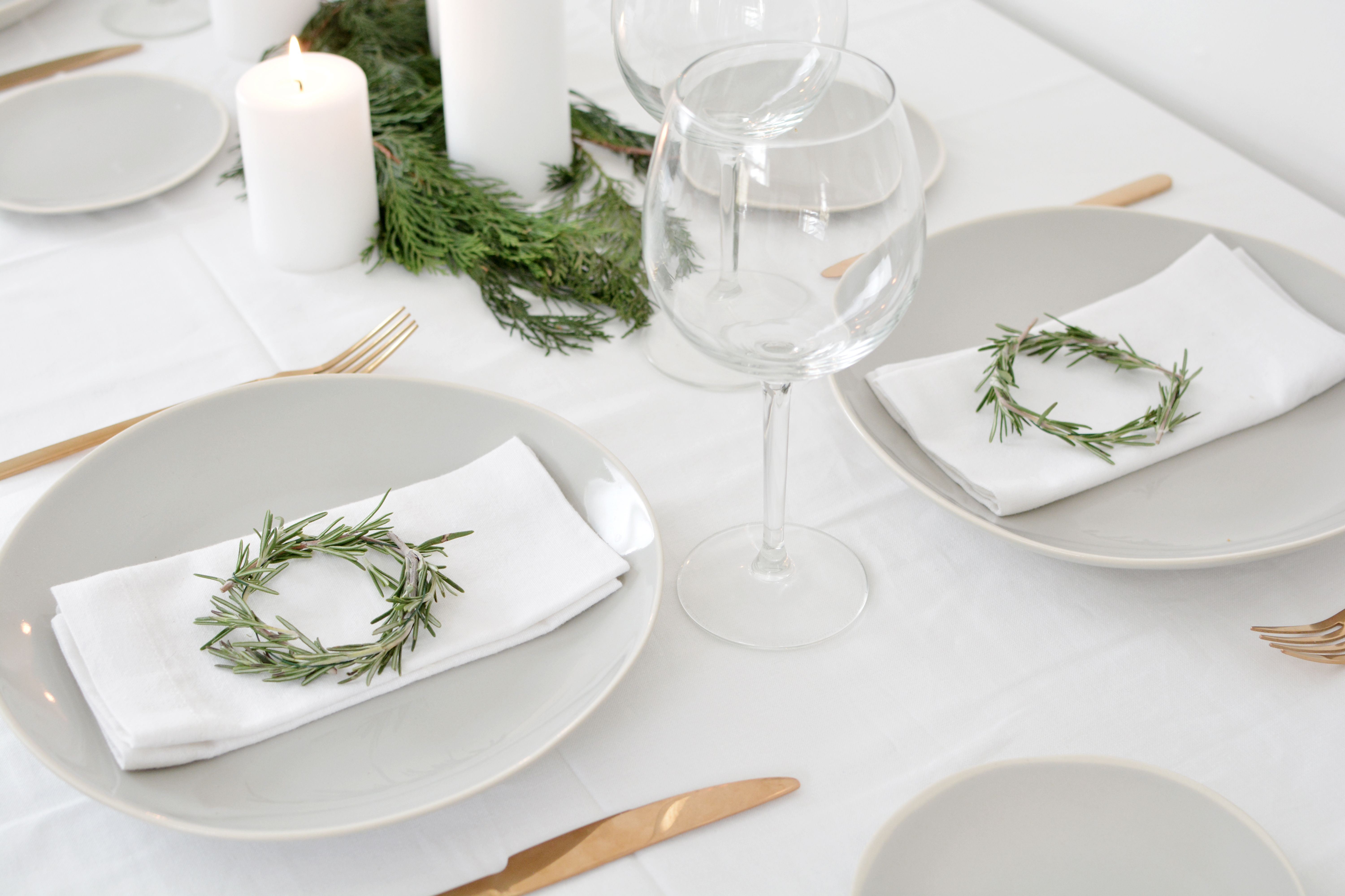 Decorate Your Holiday Table With These Mini Diy Wreaths Using Rosemary Wedding Table Decorations Diy Christmas Table Decorations Diy Wedding Table Decorations Centerpieces
