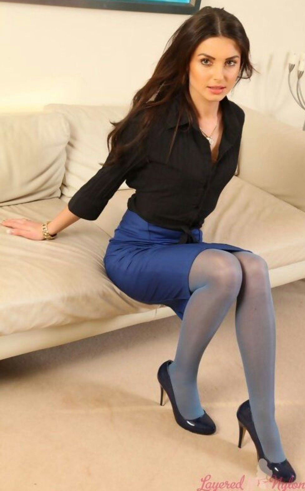In blue pantyhose