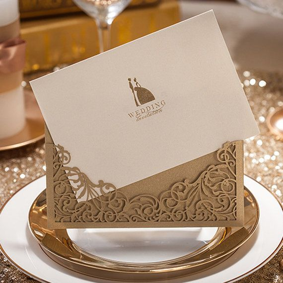 50 Pocketfold Golden Wedding Invitations Design & by WishmadeCards