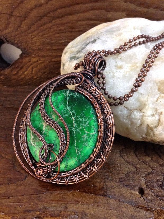 SOLD - Antiqued Copper wire weave pendant | My Etsy store listings ...