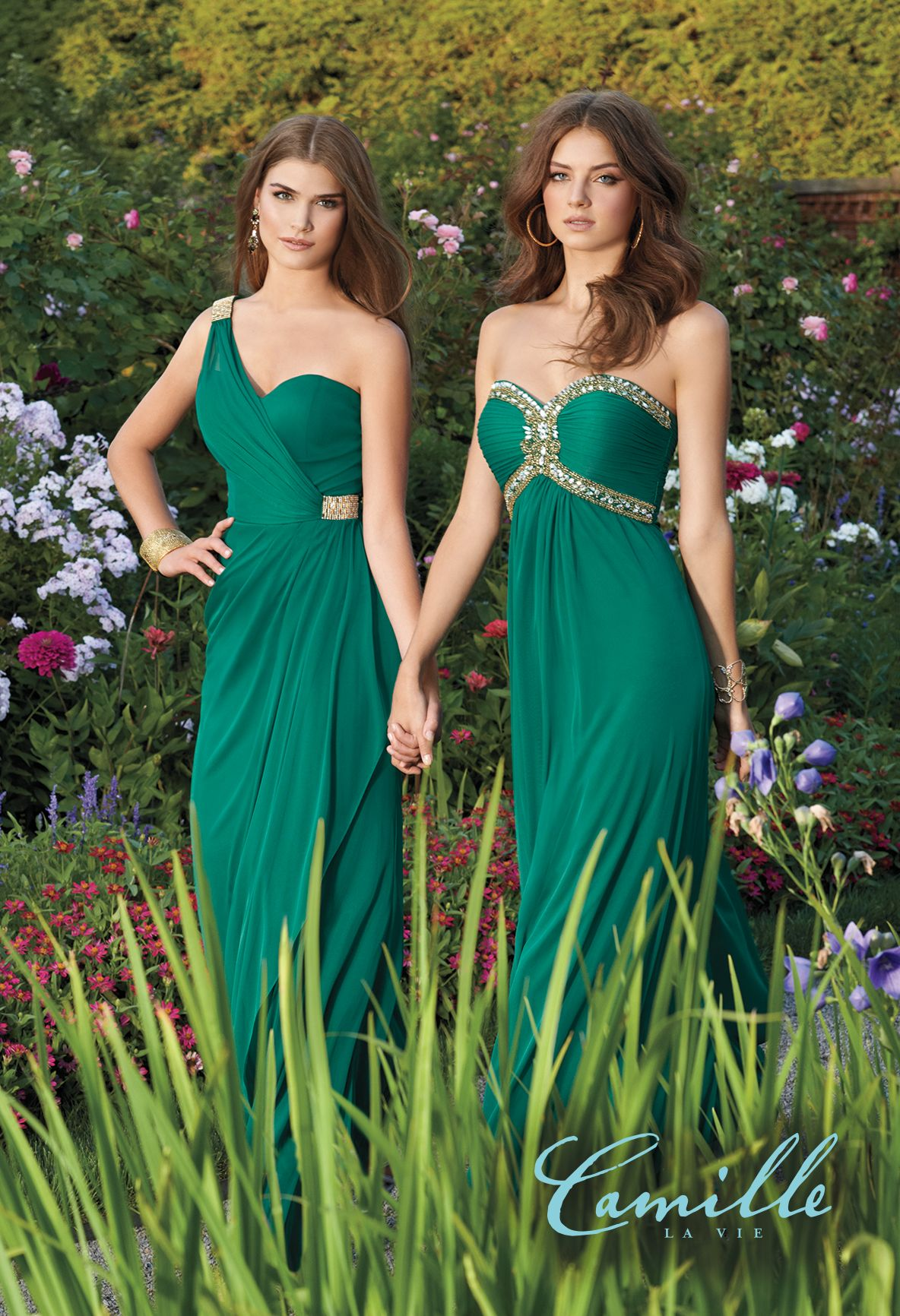 green-bridesmaid-long-dresses-camille-la-vie | Bridesmaids ...