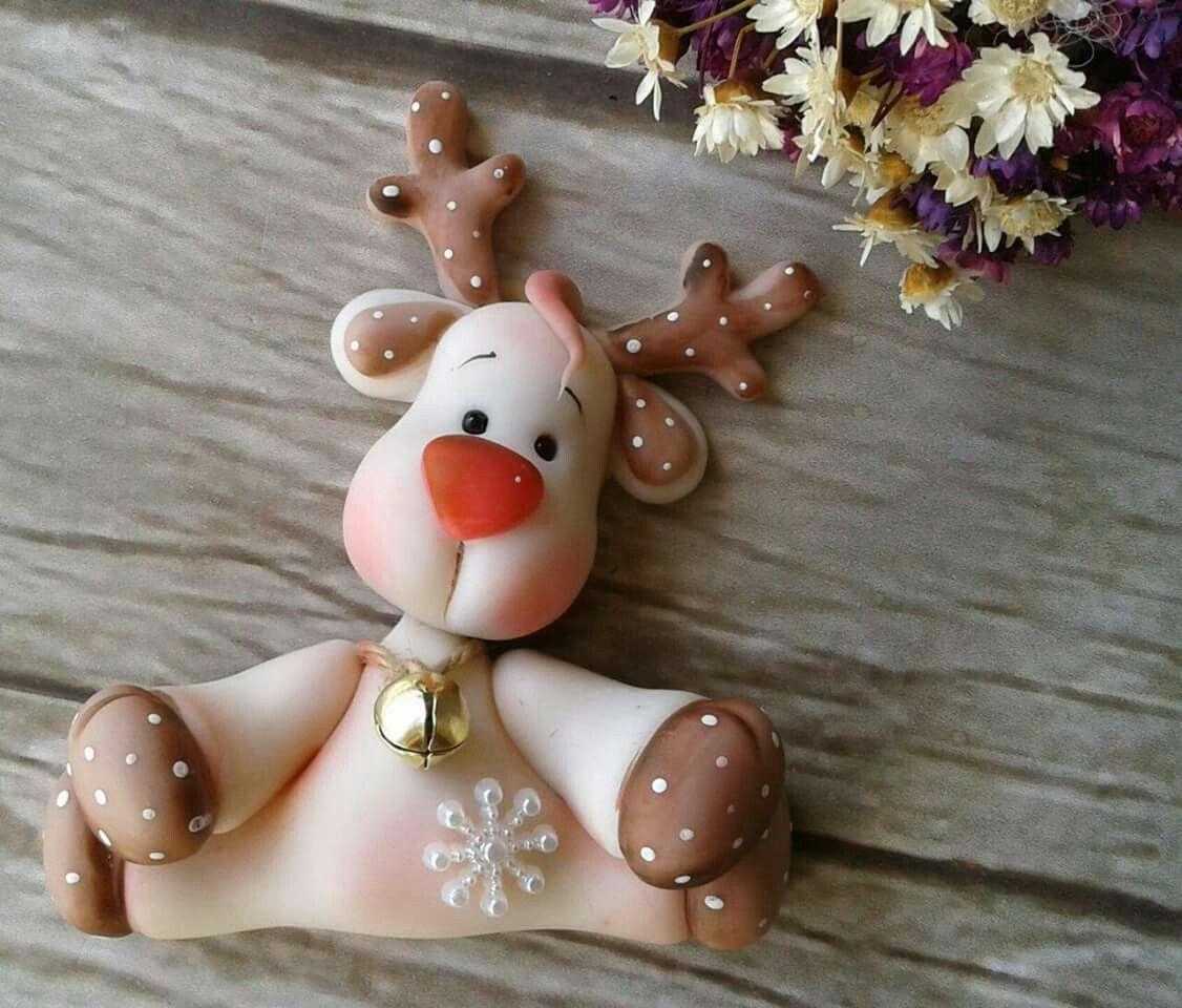 Reno porcelana fria manualidades pinterest porcelana for Adornos navidenos en porcelana fria utilisima